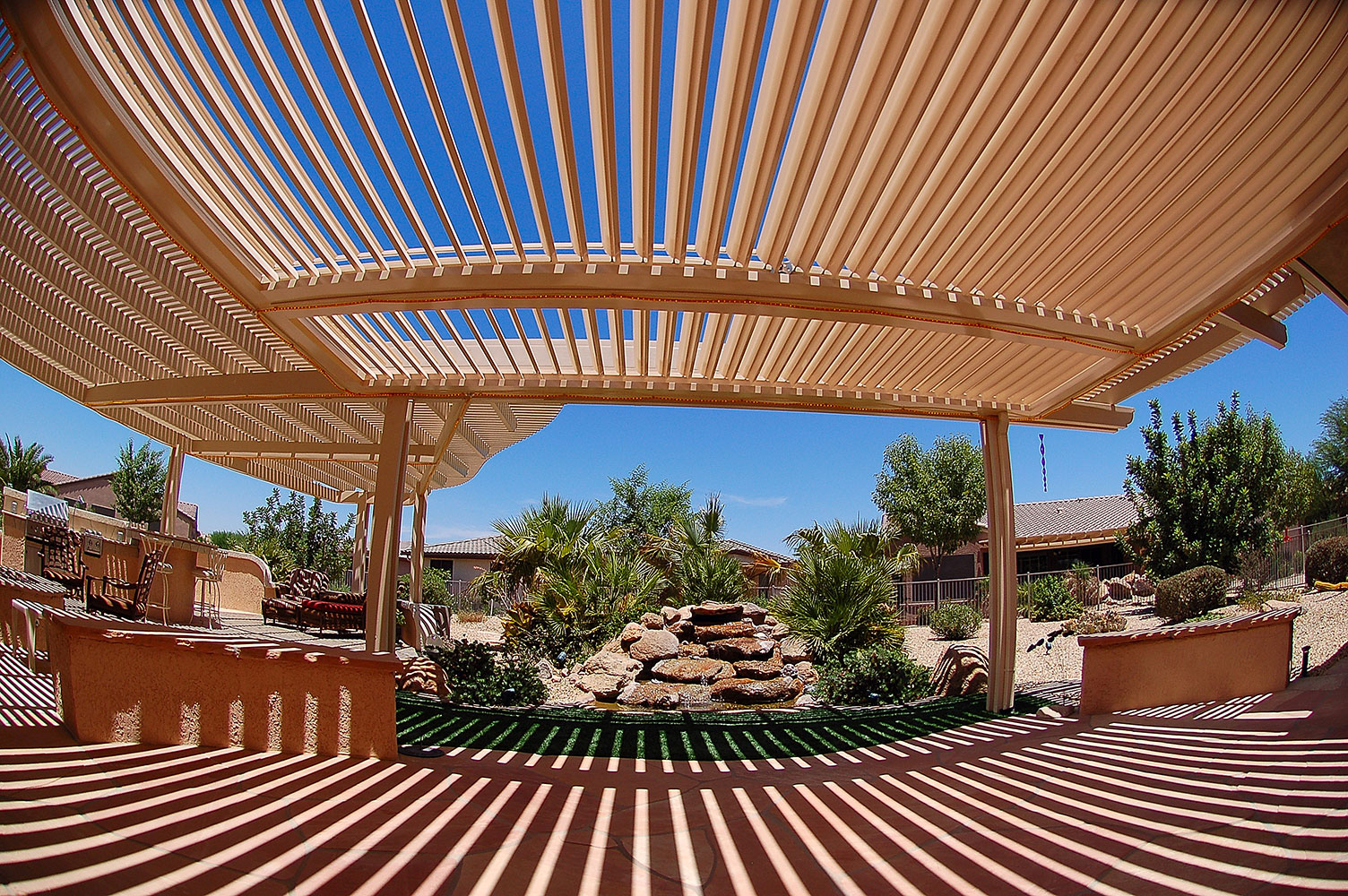 Enjoy your patio again with a lattice patio cover.